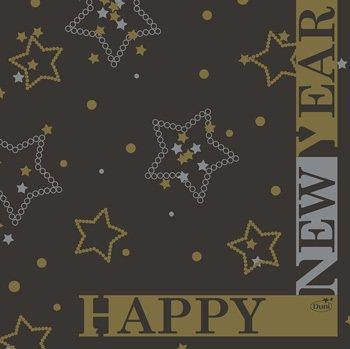 Ubrousek 33x33 3V New Year Black 50ks | Duni - Ubrousky, kapsy na příbory - 3 vrstvé ubrousky