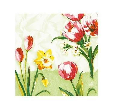 Ubrousek 33x33 3V Red Tulip 50ks   Duni - Ubrousky, kapsy na příbory - 3 vrstvé ubrousky