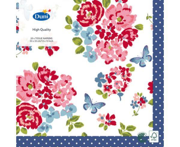 Ubrousek 33x33 3V Sweet Roses 20ks | Duni - Ubrousky, kapsy na příbory - 3 vrstvé ubrousky