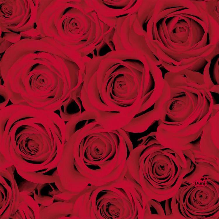Ubrousek 33x33 3V Red Roses 20ks | Duni - Ubrousky, kapsy na příbory - 3 vrstvé ubrousky