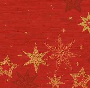 Ubrousek 40x40 DSoft Star Storie Red 60k | Duni - Ubrousky, kapsy na příbory - Airlaid 40x40