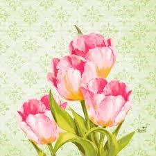 Ubrousek 33x33 3V Love Tulips 50ks | Duni - Ubrousky, kapsy na příbory - 3 vrstvé ubrousky